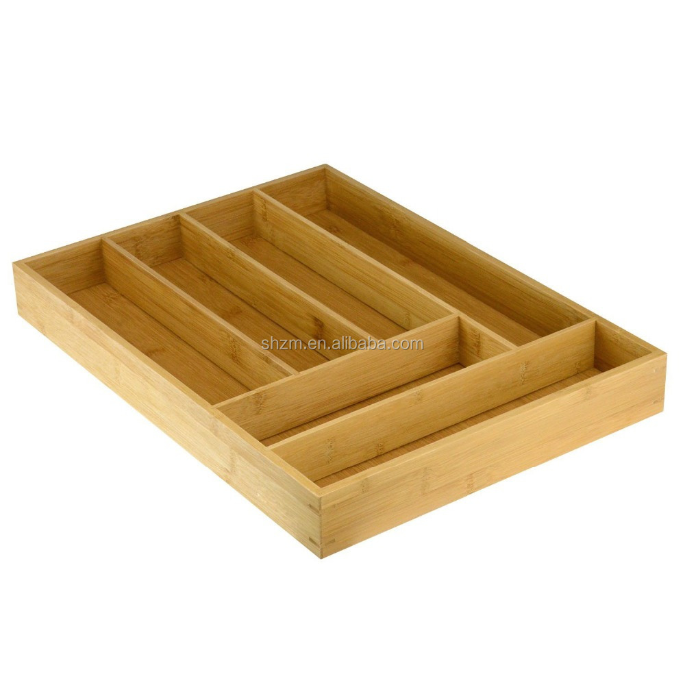Hot Sale New Design Bamboo Storage Drawer Eco-friendly Bamboo Cutlery Holder With FSC Kitchen Cutlery Tray/Organizer Top Quality