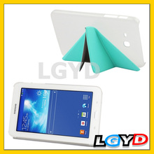 Multi-folding Cloth Texture Stand Leather Filp Case Cover with Holder for Samsung Galaxy Tab 3 Lite T110