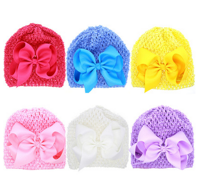 Autumn and winter newborn hat bow baby female child baby knitted cap