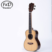 Wholesale solid spruce rosewood high gloss finish natural abalone mini ukulele