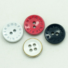 custom made engraved logo DTM PP enamel coated 4 hole metal material zinc alloy button