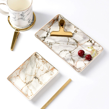 Wholesale Nordic Dinnerware Set Gold Inlay Marble Ceramic <strong>Plate</strong>
