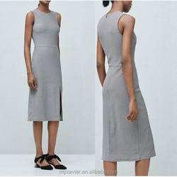 fashion cotton dress with rounded neck zip fastening on the back side slit hem design dress in wholesale price
