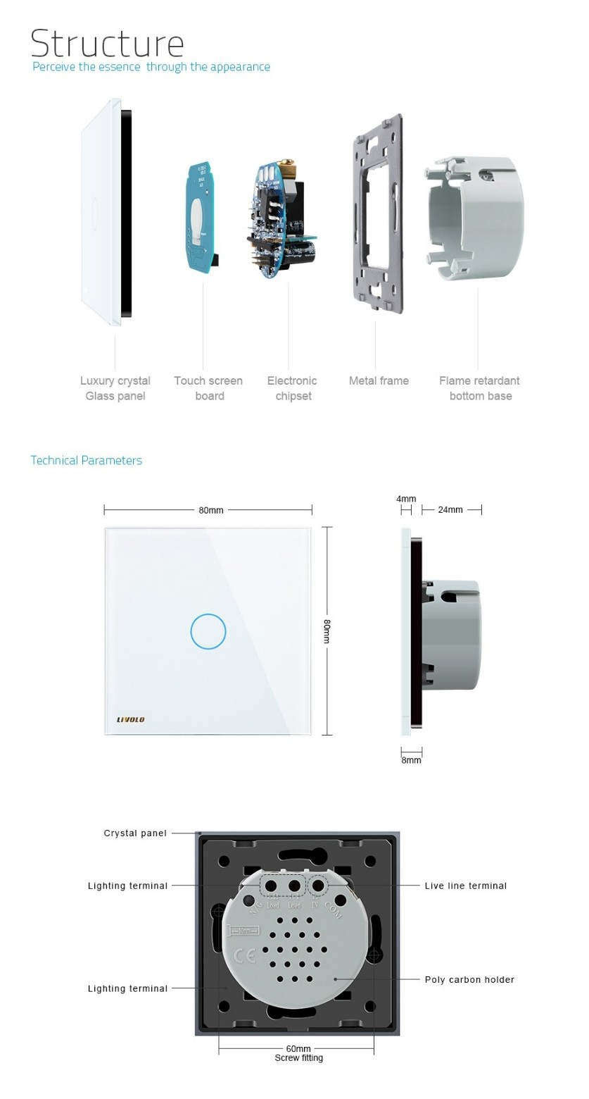Livolo EU Standard VL-C701B-11/12/15,110~250V Touch Screen Wall Door Bell Switch With Crystal Glass Switch Panel