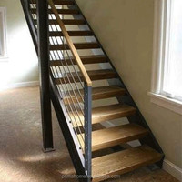 interior straight steel wood tread stair/open riser staircase