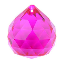High quality 40mm fuchsia chandelier cut-faceted crystal light balls for hotel lighting decoration