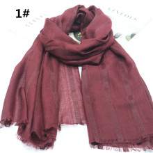 Soft Scarf Plain Fashion Cotton Viscose Lurex Plaid Stripe Shinny Shawls Scarves Long Hijab Muslim Scarf 12 Colors