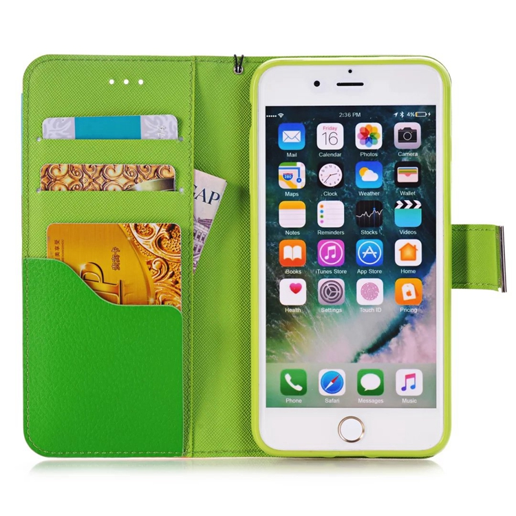 HIigh Quality Lovely Double Color Stand Wallet Phone Case Leather Flip Case For Iphone 7 CA2237