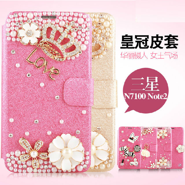 For Samsung Galaxy Note 2 Diamond Cell Phone Leather Flip Case Cover