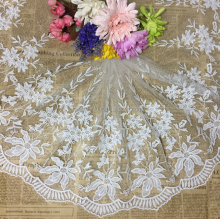 35cm Width Water Soluble Dress Decoration Embroidery Polyester Milky Lace Trim