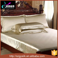 wholesale luxury colorful silk bedding fitted sheet