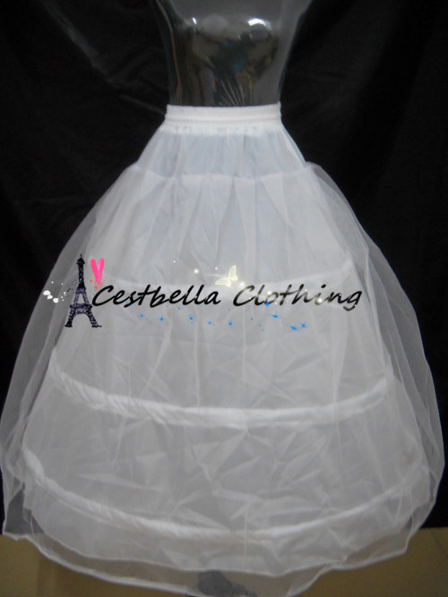 3 Hoops Petticoats Ball Gown Adjustable Sizes Crinoline Bridal Accessories Underskirt for Wedding/Prom/Quinceanera Dress
