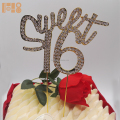 Sweet number 16 rhinestone gold cake topper for 16th birthday party decorations