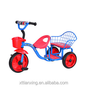 china online shopping wholesale cartoon children tricycle for twins, 2 seats children tricycle, baby double trike