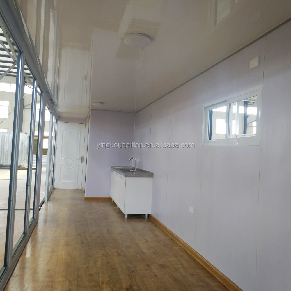 Automatic switch deck seasy fast building prefab glass modular luxury container homes 40ft with kitchen bathroom bedroom