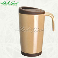 Natural Rice Husk Cafe Mug with Handle and Silicone Lid