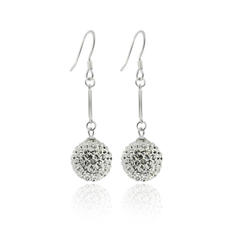 wholesale popular Cheap 925 Sterling silver crystal ball drop Earrings