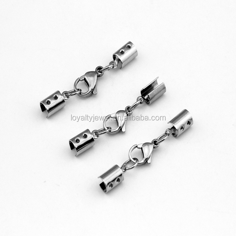 Factory supply jewelry findings Stainless steel bucke clasp for leather cord