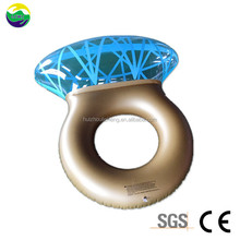 Diamond Shape Shiny Swim Water Party Toy High Quality PVC Inflatable Swim Ring