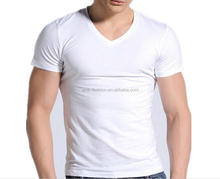 best selling cheap western european v-neck man plain blank tee t-shirts