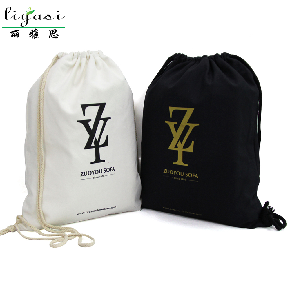 Stylish wholesale black color muslin cotton fabric drawstring bag