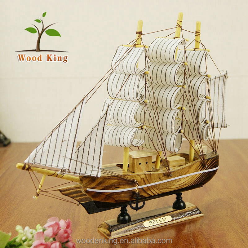 The Mediterranean Sea Craft Gift European Home Furnishing 24CM Sailboat Craft Boat Decoration Wooden Model Ship