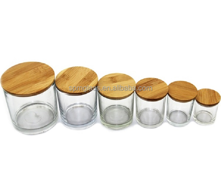 clear frosted unique candle jars with wooden lids made in china