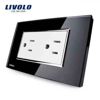 Manufacturer Livolo US Standard Crystal Glass switch110v ac Power Socket VL-C3C2US-8215A AC 125~230V Wall Powerpoints