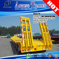 China hot sale WABCO braking system 3 axles cargo low bed trailer truck supplier