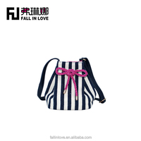 2014 new arrived fancy kids backpack school cute bag for children with black and white stripes pattern