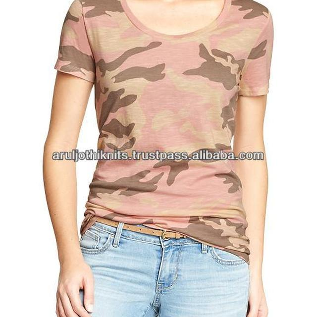 100% Cotton Womens camouflage printed t shirt