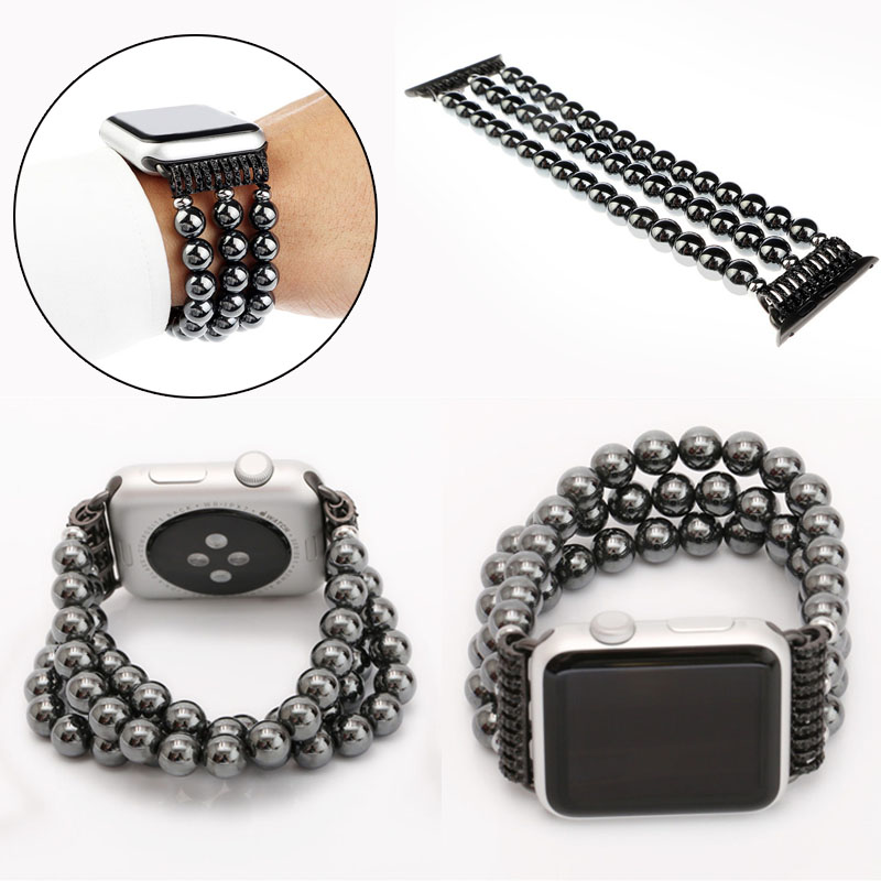 2017 New Arrival Morden 3 Links Black Gallstone Watch band for Apple Watch,for Apple Watch Wrist Loop 38mm/42mm