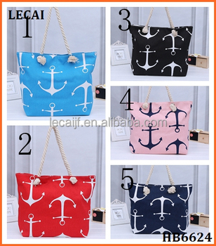 Wholesale boat anchor pattern beach tote handbag