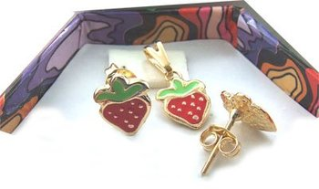 BABY / 18K GOLD FILLED ~ GIRL'S STRAWBERRY 3 PIECE JEWELRY SET