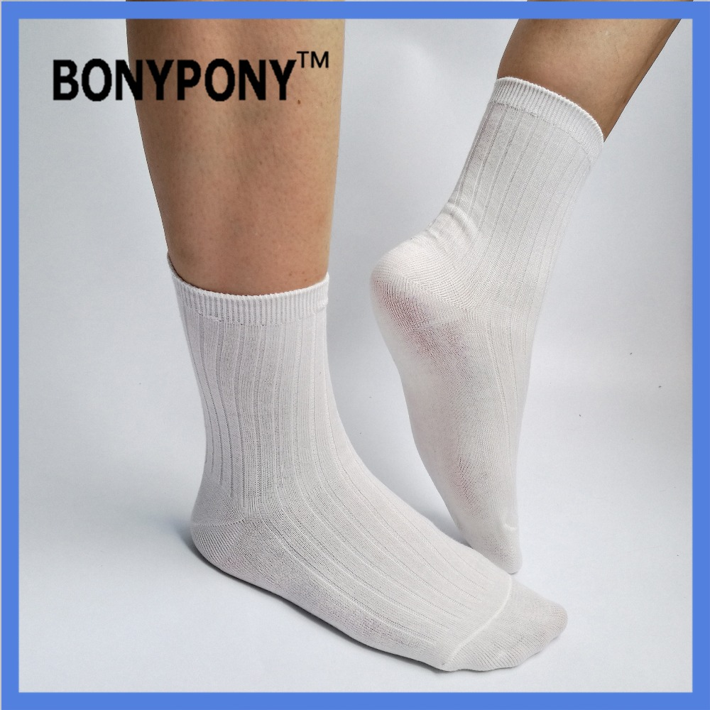 Bonypony custom branding unisex Cotton pure white color Classic Rib Crew Socks