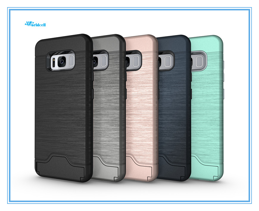 factory price armor case for Samsung S8 credit card protective cover