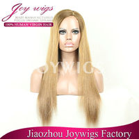 "20"" inch silk base natural straight Two colour tones full thin skin pu full lace wigs around for white women"