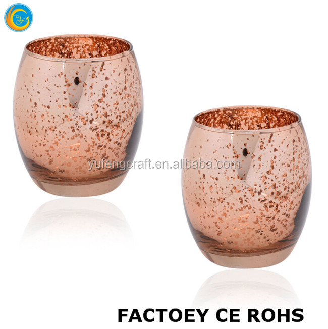 Online Rose Gold mercury Glass Votive Tealight Candle Holders