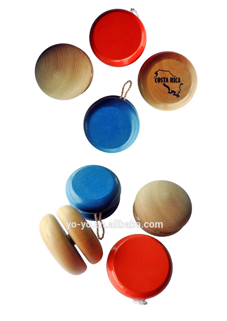 HY5805 Free sample supplied promotional toys wooden yoyo toy with light for kids