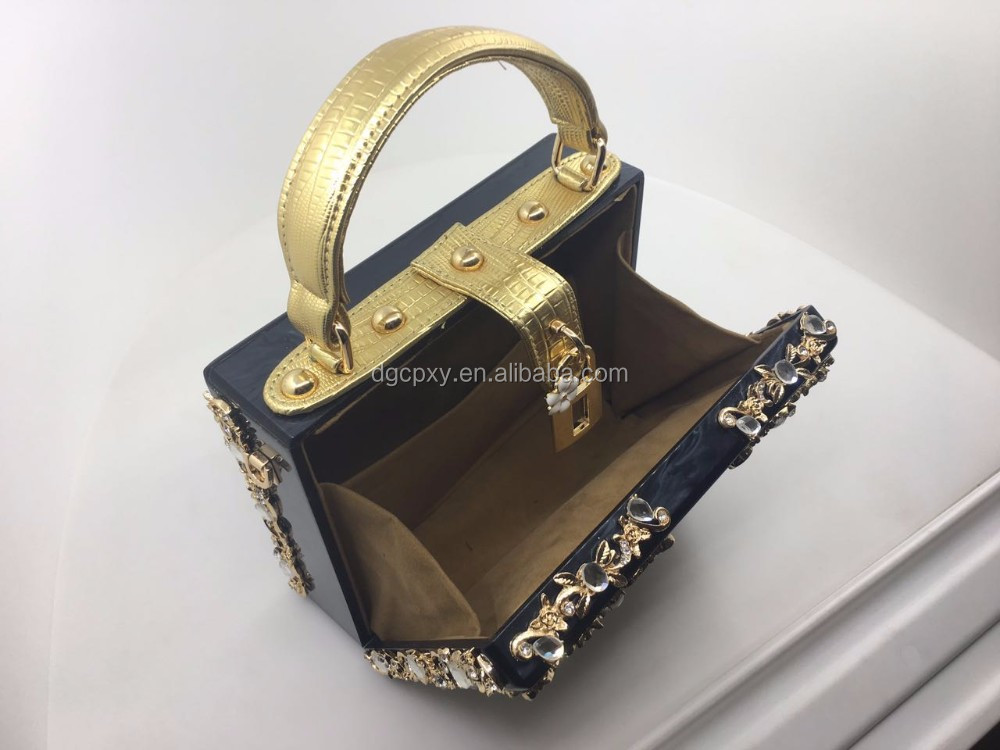 High-quality acrylic empty hollow handbag shoulder bag ladies evening bag