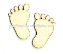 Hot sell Pair of Baby Feet Footprints Laser Cut Unfinished Wood Shapes made in China