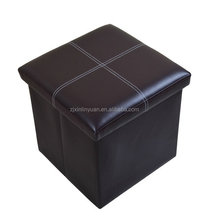 USA market Square cheap Leather folding storage ottoman