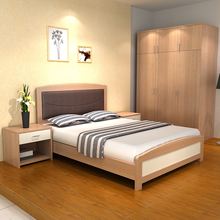 Hotel new design 1800x2145x1020H mm dimension teak wood craft bed furniture