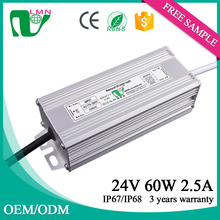 3 years warranty constant voltage 2500ma waterproof led driver