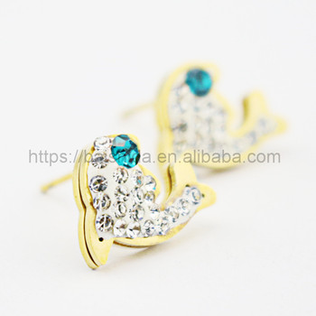 animal shape blue crystal funky earrings for girls jewelry manufacturer brand
