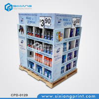 High quality cardboard 4 layer shampoo display rack and display shelves