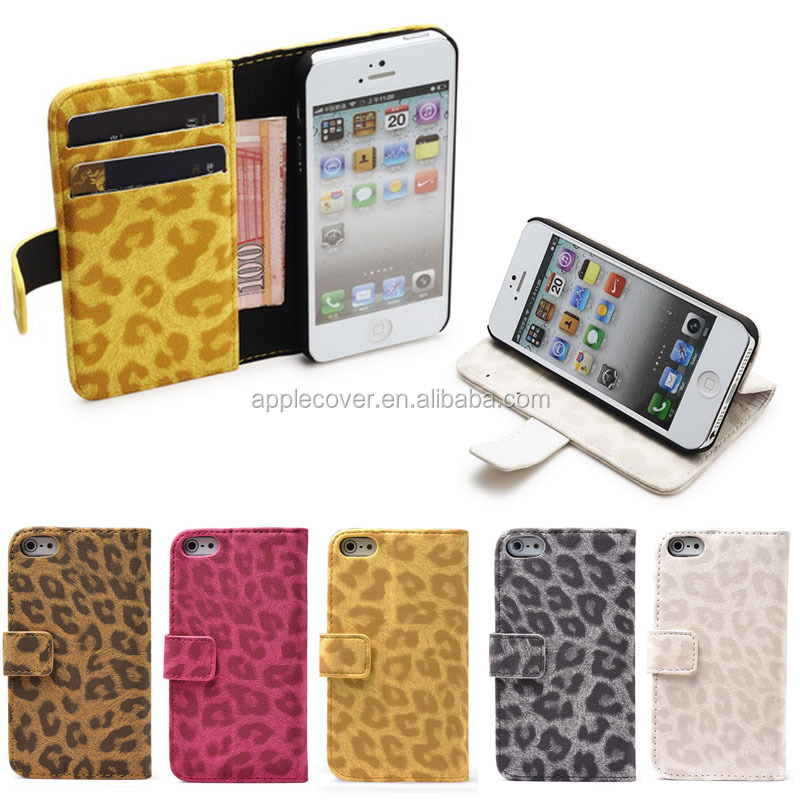 Hottest Leopard Pattern Wallet Cover Cases For iPhone 5/5S Stand Flip Case For Phone