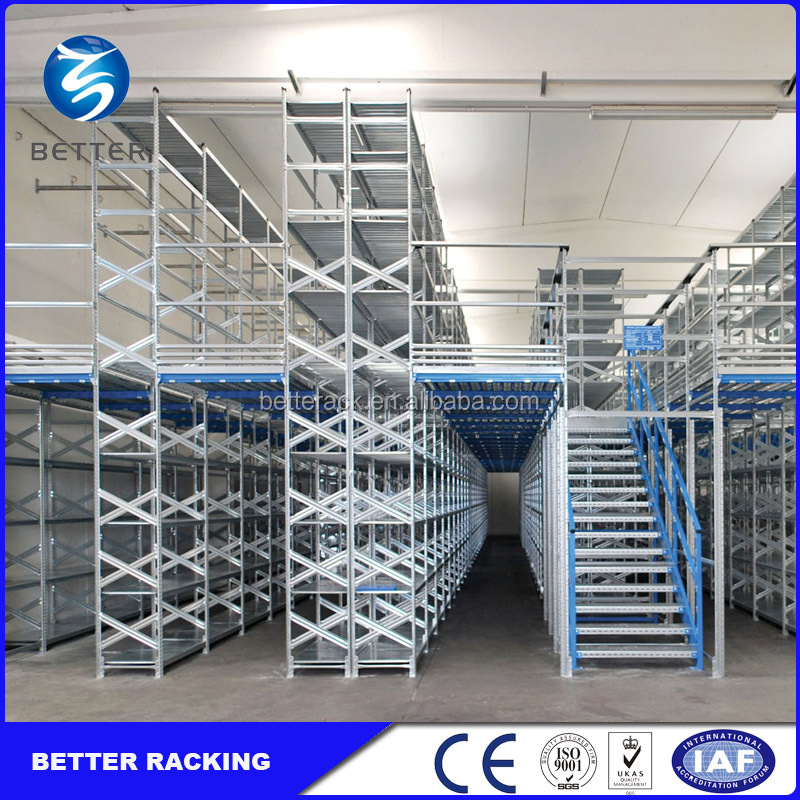 Warehouse Storage Multi-Lever Shelving Support Steel Mezzanine Floor