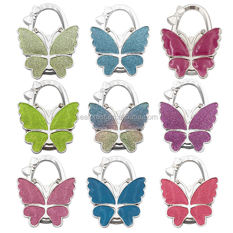 Colorful Butterfly Shape Foldable Bag Hanger Purse Hook For Table