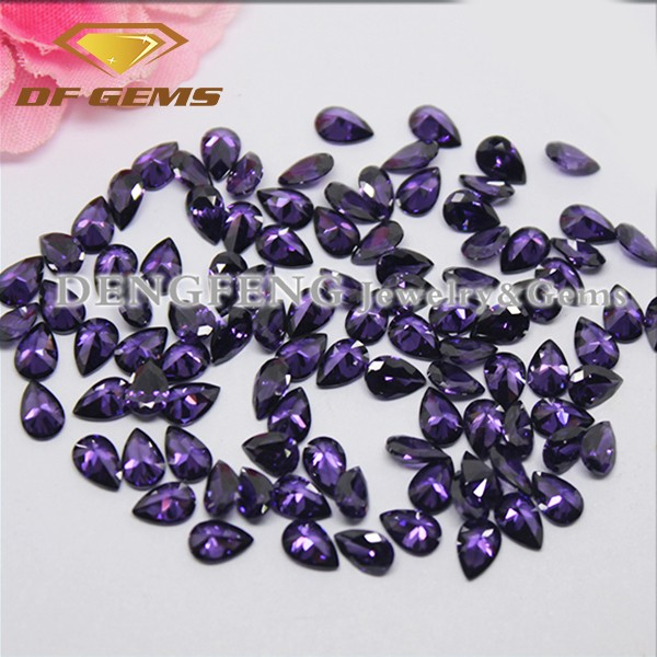 Amethyst pear cz stones synthetic gemstone for shoes